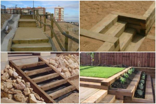 Traviesas De Madera Para Jardín Terraza O Construcción